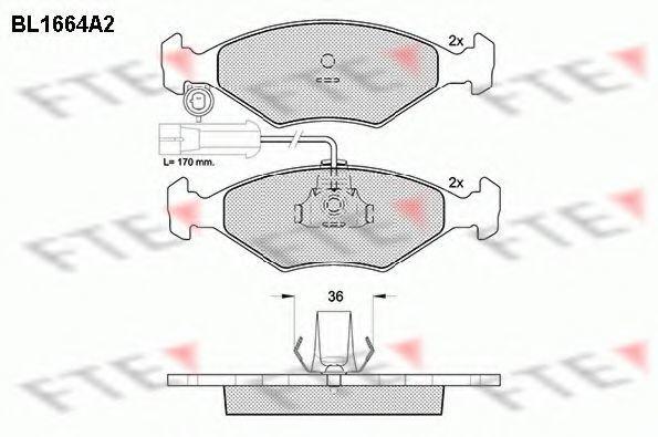 Комплект тормозных колодок, дисковый тормоз FTE BL1664A2