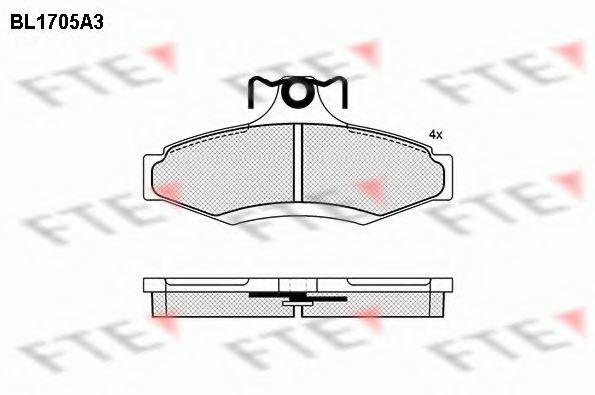 Комплект тормозных колодок, дисковый тормоз FTE BL1705A3
