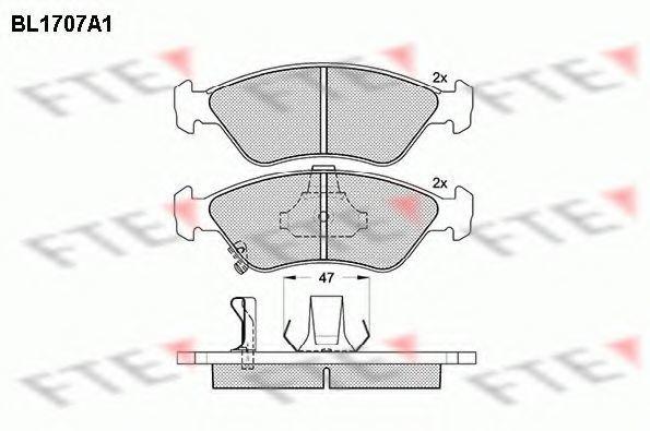 Комплект тормозных колодок, дисковый тормоз FTE BL1707A1