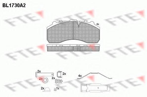 Комплект тормозных колодок, дисковый тормоз FTE BL1730A2