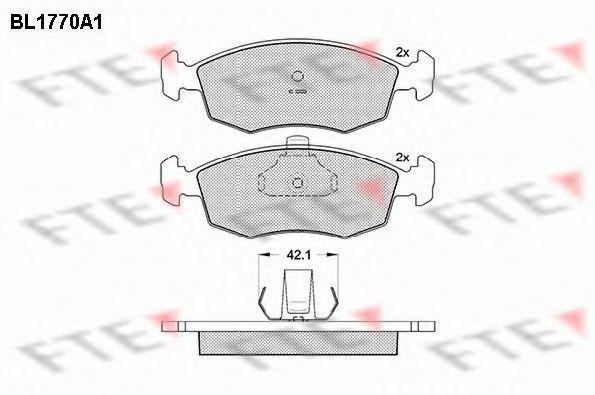Комплект тормозных колодок, дисковый тормоз FTE BL1770A1