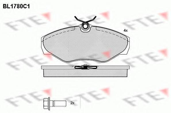 Комплект тормозных колодок, дисковый тормоз FTE BL1780C1