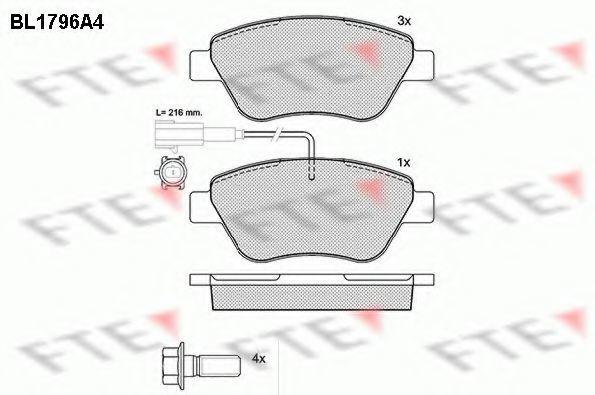 Комплект тормозных колодок, дисковый тормоз FTE BL1796A4