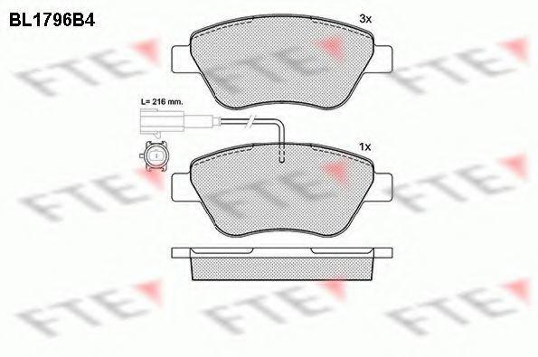 Комплект тормозных колодок, дисковый тормоз FTE BL1796B4