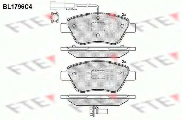 Комплект тормозных колодок, дисковый тормоз FTE BL1796C4