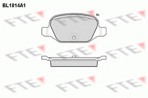 Комплект тормозных колодок, дисковый тормоз FTE BL1814A1