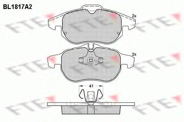 Комплект тормозных колодок, дисковый тормоз FTE BL1817A2