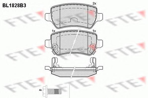 Комплект тормозных колодок, дисковый тормоз FTE BL1828B3