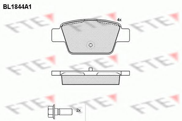 Комплект тормозных колодок, дисковый тормоз FTE BL1844A1