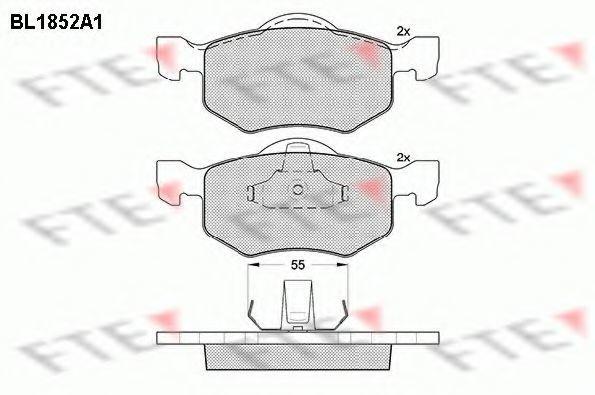 Комплект тормозных колодок, дисковый тормоз FTE BL1852A1