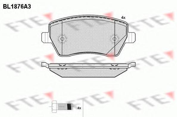 Комплект тормозных колодок, дисковый тормоз FTE BL1876A3