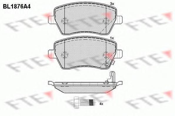 Комплект тормозных колодок, дисковый тормоз FTE BL1876A4