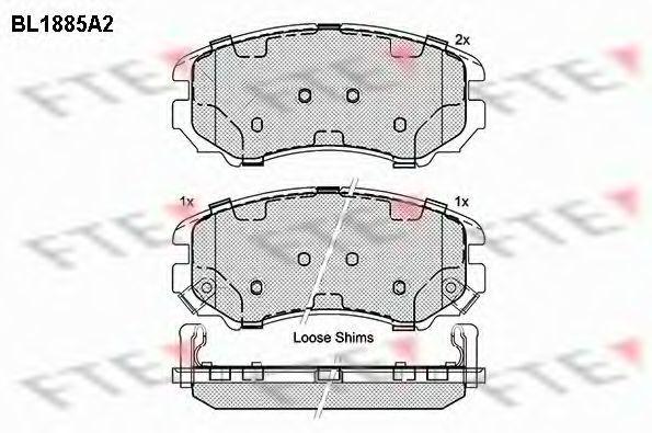 Комплект тормозных колодок, дисковый тормоз FTE BL1885A2