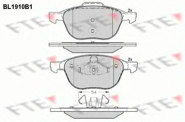 Комплект тормозных колодок, дисковый тормоз FTE BL1910B1