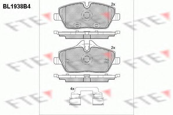 Комплект тормозных колодок, дисковый тормоз FTE BL1938B4