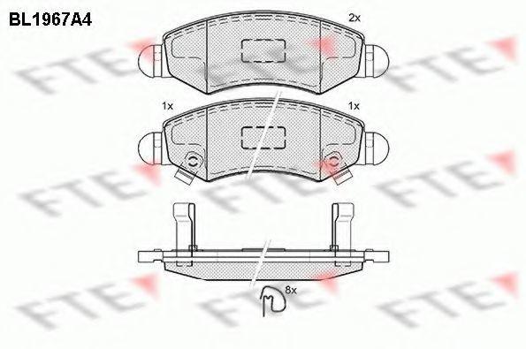 Комплект тормозных колодок, дисковый тормоз FTE BL1967A4
