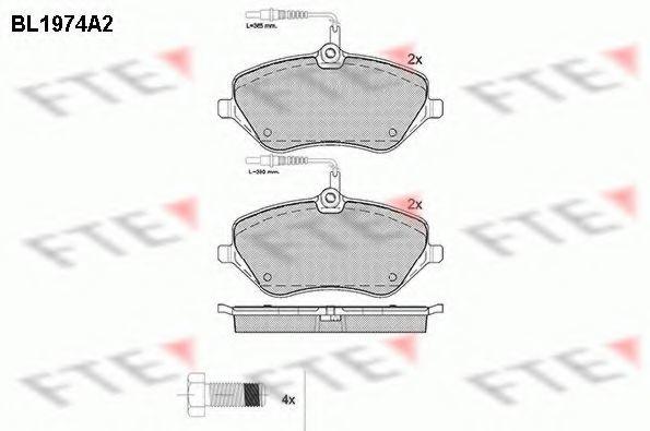 Комплект тормозных колодок, дисковый тормоз FTE BL1974A2