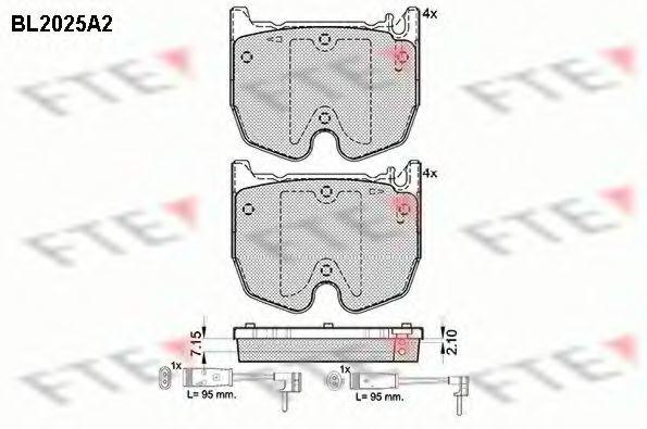 Комплект тормозных колодок, дисковый тормоз FTE BL2025A2