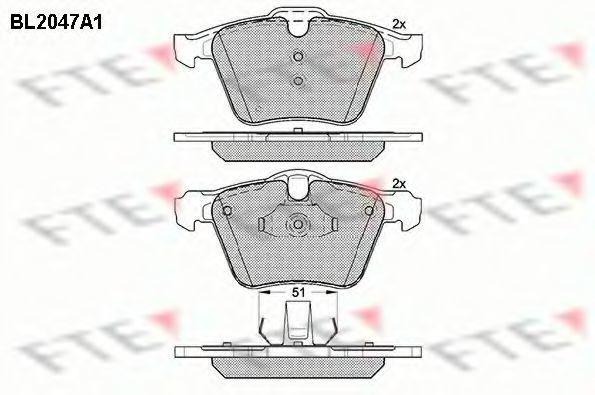 Комплект тормозных колодок, дисковый тормоз FTE BL2047A1