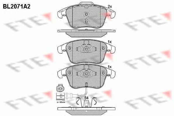 Комплект тормозных колодок, дисковый тормоз FTE BL2071A2