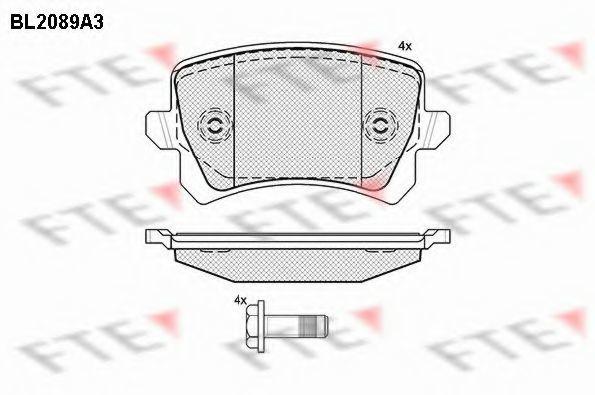 Комплект тормозных колодок, дисковый тормоз FTE BL2089A3