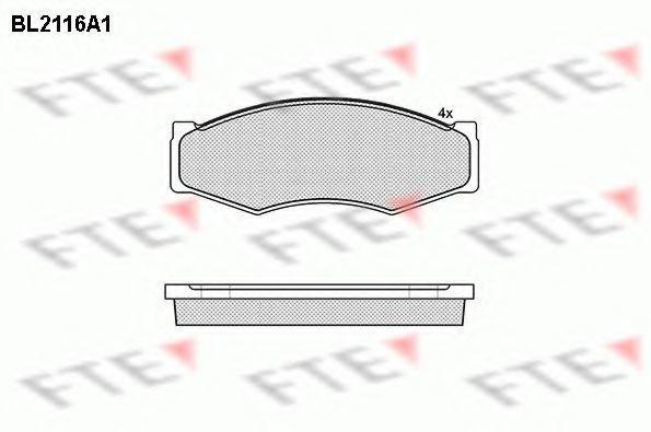 Комплект тормозных колодок, дисковый тормоз FTE BL2116A1