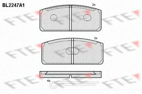 Комплект тормозных колодок, дисковый тормоз FTE BL2247A1