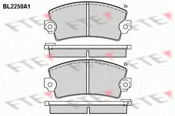 Комплект тормозных колодок, дисковый тормоз FTE BL2250A1