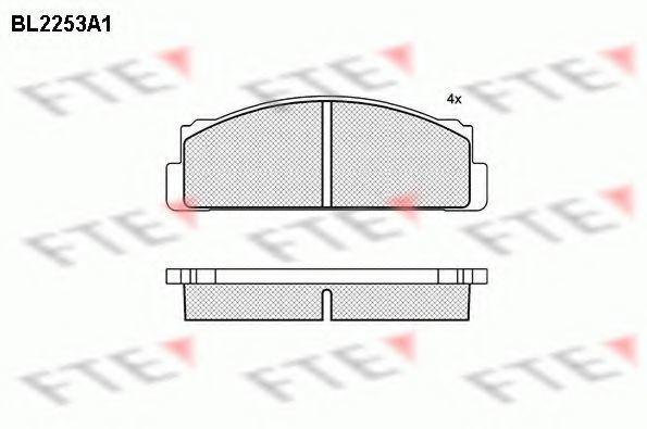 Комплект тормозных колодок, дисковый тормоз FTE BL2253A1