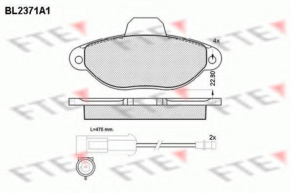 Комплект тормозных колодок, дисковый тормоз FTE BL2371A1