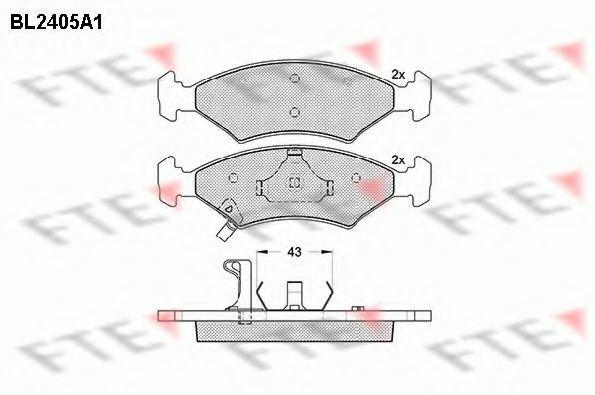Комплект тормозных колодок, дисковый тормоз FTE BL2405A1