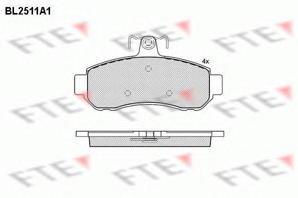 Комплект тормозных колодок, дисковый тормоз FTE BL2511A1