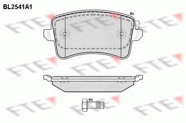 Комплект тормозных колодок, дисковый тормоз FTE BL2541A1