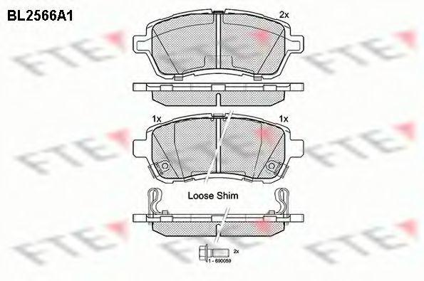 Комплект тормозных колодок, дисковый тормоз FTE BL2566A1