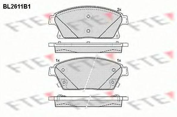Комплект тормозных колодок, дисковый тормоз FTE BL2611B1