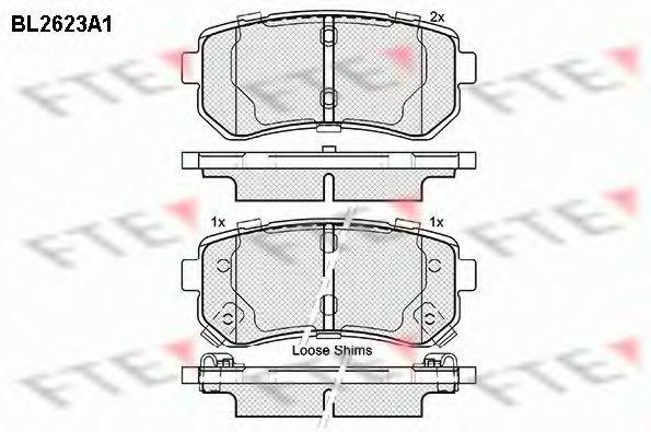 Комплект тормозных колодок, дисковый тормоз FTE BL2623A1