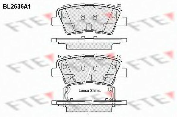 Комплект тормозных колодок, дисковый тормоз FTE BL2636A1