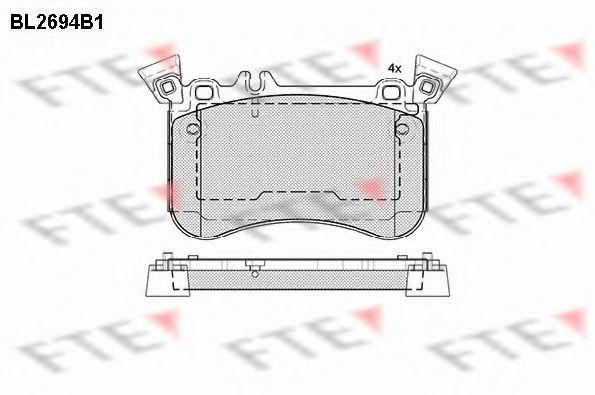 Комплект тормозных колодок, дисковый тормоз FTE BL2694B1