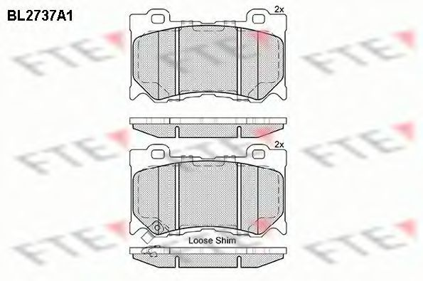 Комплект тормозных колодок, дисковый тормоз FTE BL2737A1