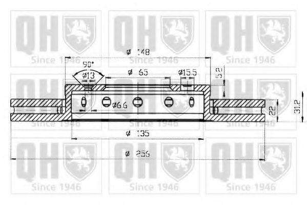 Диск тормозной вентилируемый d=256мм QUINTON HAZELL BDC 4764