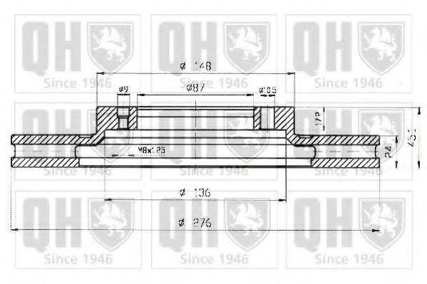 Диск тормозной вентилируемый QUINTON HAZELL BDC 4774