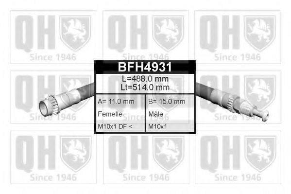 Шланг тормозной QUINTON HAZELL BFH4931