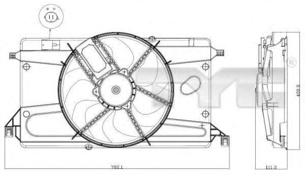 Вентилятор, охлаждение двигателя TYC 8200002