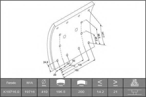 Купить Накладки тормозные FERODO K197160F3656