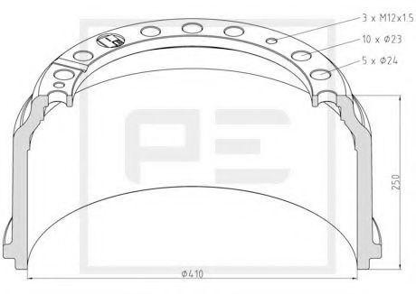 Тормозной барабан PE Automotive 01640000A