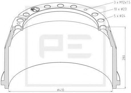 Тормозной барабан PE Automotive 01640200A