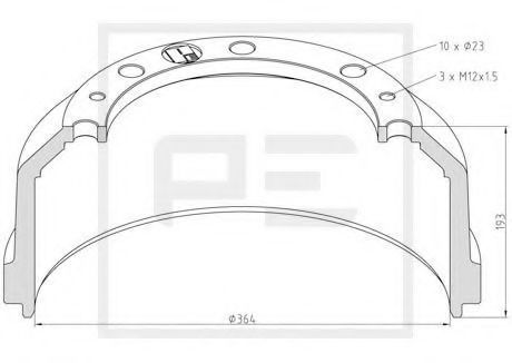 Тормозной барабан PE Automotive 01646600A