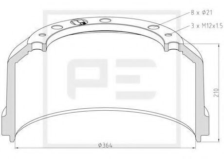 Тормозной барабан PE Automotive 01647200A