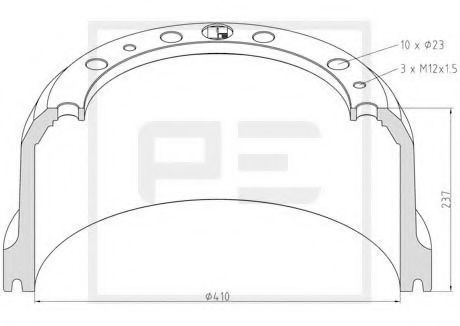 Тормозной барабан PE Automotive 01650200A
