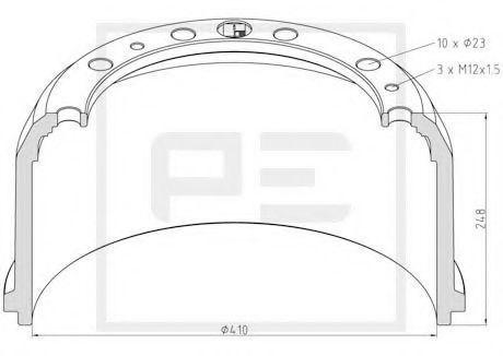 Тормозной барабан PE Automotive 01652300A